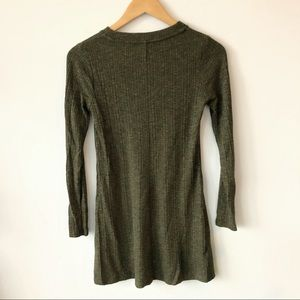 Topshop Dresses - Topshop Long Sleeve Ribbed Dress Green